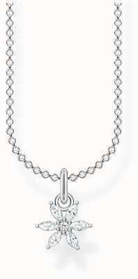 Thomas Sabo Sterling Silver Flower Charm Necklace | White Stones KE2103-051-14-L45V