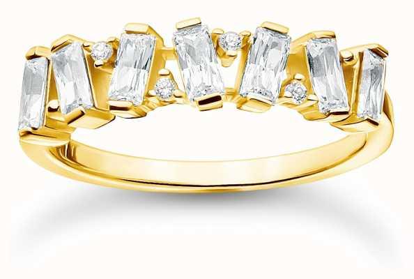 Thomas Sabo Gold Plated White Stones Ring | Size 54 (UK N) TR2346-414-14-54