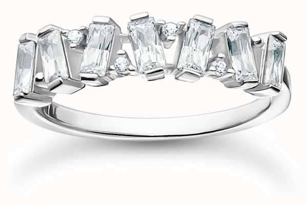 Thomas Sabo Sterling Silver White Stones Ring | Size 54 (UK N) TR2346-051-14-54