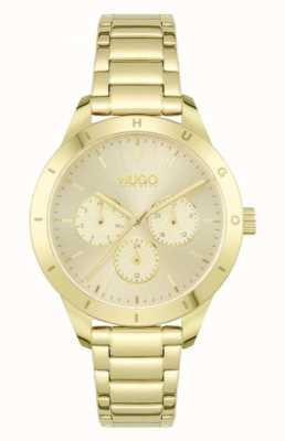 HUGO #FRIEND   Gold Plated Steel Bracelet   Gold Dial 1540091