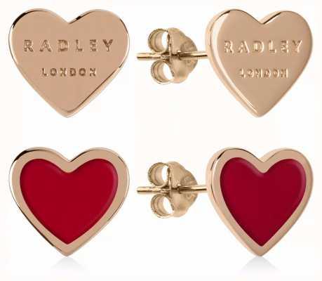 Radley Jewellery Love Letters | Rose Gold Plated & Red Heart Stud Earrings RYJ1154S