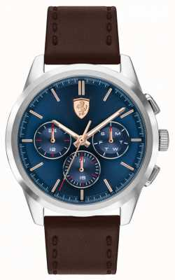 Scuderia Ferrari Grand Tour | Men's Brown Leather Strap | Blue Dial 0830806
