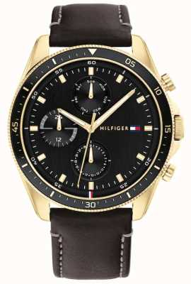 Tommy Hilfiger Parker | Men's Black Leather Strap | Black Dial 1791836