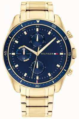 Tommy Hilfiger Parker | Men's Gold Plated Steel Bracelet | Blue Dial 1791834