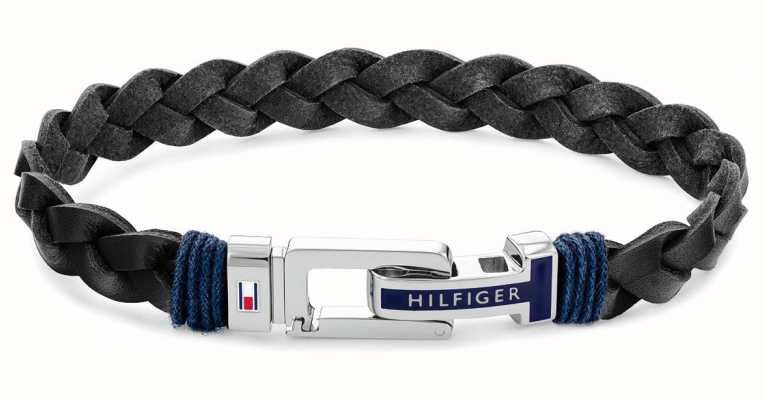Tommy Hilfiger Casual | Men's Black Leather Bracelet 2790307