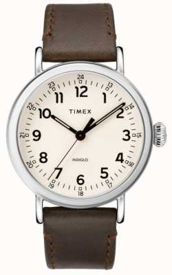 Timex Men's Standard Brown Leather Strap | Beige Dial TW2T20700
