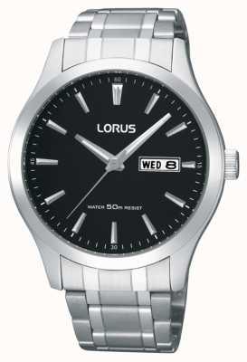 Lorus Mens   Black Dial   Stainless Steel Bracelet RXN23DX9