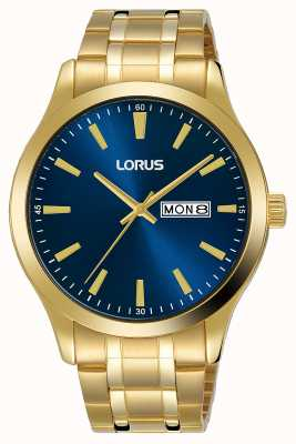 Lorus Mens | Blue Dial | Gold Plated Steel Bracelet RH340AX9