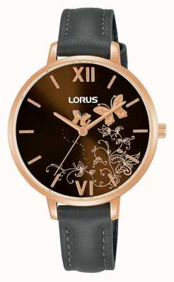 Lorus womens | Brown Sunray Dial | Grey Leather Strap RG202TX9