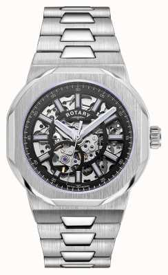 Rotary Mens | Regent | Automatic | Black Skeleton Dial | Stainless Steel Bracelet GB05415/04