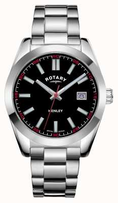 Rotary Mens | Henley | Black Dial | Stainless Steel Bracelet GB05180/04