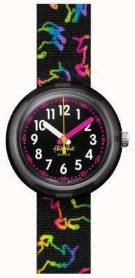 Flik Flak DISCO UNICORN | Multicoloured Unicorn Print Black Fabric Strap | Black Dial FPNP070