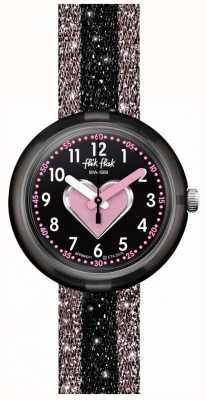 Flik Flak CUORICINO | Pink/Black Textile Strap | Black Dial FPNP071
