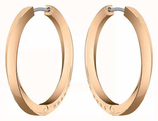 BOSS Jewellery Women's Signature Rose Gold Hoop Earrings 1580163