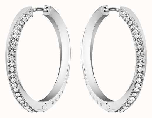 BOSS Jewellery Women's Stainless Steel Signature Hoop Earrings 1580162