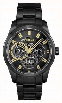 HUGO #Skeleton | Men's Black IP Bracelet | Black Dial 1530192