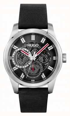 HUGO #Skeleton | Men's Black Leather Strap | Black Dial 1530189