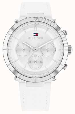 Tommy Hilfiger Emery | Women's White Leather Strap | Silver Dial 1782352