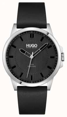 HUGO #First | Men's Black Leather Strap | Black Dial 1530188