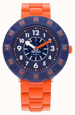 Flik Flak ORANGEBRICK | Orange Silicone Strap | Blue Dial FCSP103