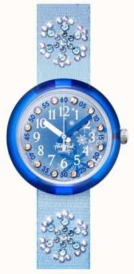 Flik Flak FROZILICIOUS | Blue Crystal Set Fabric Strap | Blue Dial FPNP073