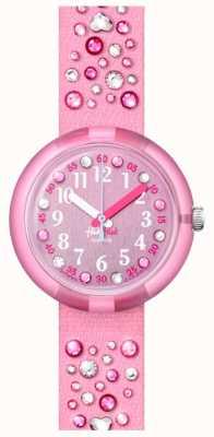 Flik Flak MILLEFEUX | Pink Crystal Set Fabric Strap | Pink Dial FPNP074