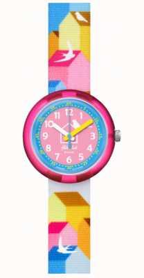 Flik Flak CASITAS | Multi-Coloured Fabric Strap | Blue/Pink Dial FPNP067