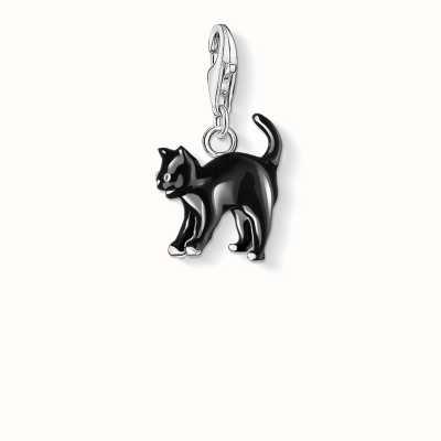 Thomas Sabo Cat Charm Black 925 Sterling Silver Cold Enamel 0701-007-11