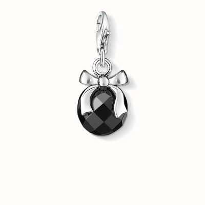 Thomas Sabo Pendant Charm Black 925 Sterling Silver/ Obsidian 0868-023-11