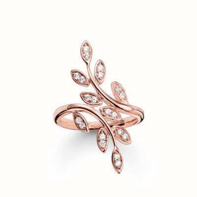Thomas Sabo Ring White 925 Sterling Silver Gold Plated Rose Gold/ Zirconia TR2017-416-14-54