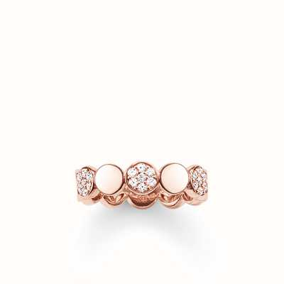 Thomas Sabo Ring White 925 Sterling Silver Gold Plated Rose Gold/ Zirconia TR2048-416-14-54