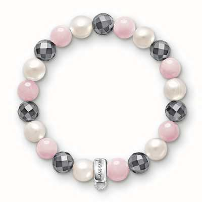 Thomas Sabo Bracelet 16.5cm Charm Carrier Multicoloured 925 Sterling Silver/ Rose Quartz/ Freshwater Pearl/ Reconstructed Hematite X0188-581-7-M