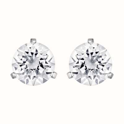 Swarovski Solitaire | White | Rhodium Plated | Stud Earrings 1800046