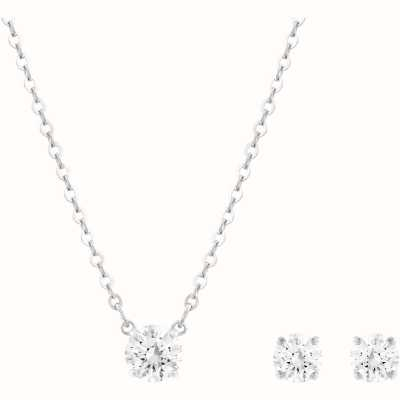 Swarovski Attract |Rhodium Plated | Round| Necklace And Earring Set 5113468