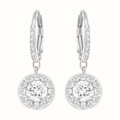 Swarovski Attract | Rhodium Plated| White | Dangling Earrings 5142721