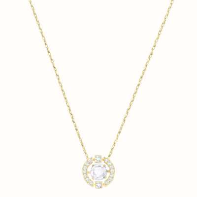 Swarovski Sparkling | Dance Round Necklace | White | Gold Tone Plated 5284186