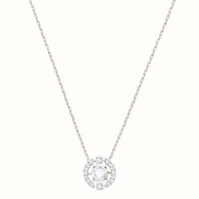 Swarovski Sparkling | Dance Round Necklace | Rhodium Plated | White 5286137
