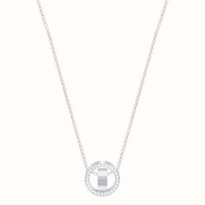 Swarovski Hollow | Rhodium plated | White | Hoop | Necklace 5349348