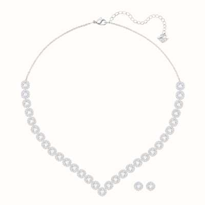 Swarovski Angelic | Rhodium Plated | White | Square | Necklace Set 5364318