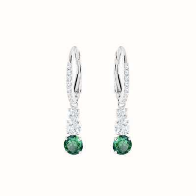 Swarovski Attract Trilogy | Rhodium Plated | Green | Round |Earrings 5414682