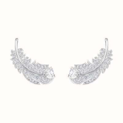 Swarovski Nice | Feather Stud Pierced Earrings | Rhodium Plated |White 5482912