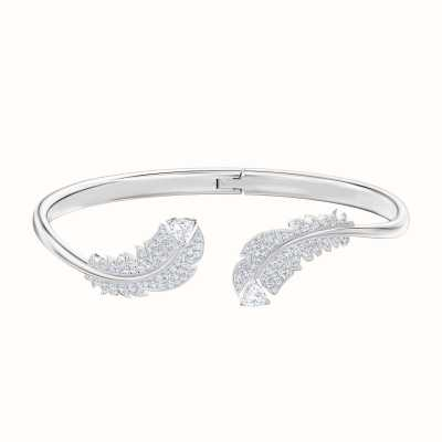 Swarovski Nice | Feather Bangle | Rhodium Plated | White | 5482915