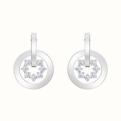 Swarovski Further  Rhodium plated   White   Drop  Cirlce   Earrings 5499002